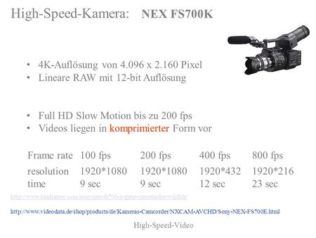 High-Speed-Video Bilder 4K-Auflösung von 4.096 x 2.160 Pixel Lineare RAW mit 12-bit Auflösung Highspeed Movie Full HD Slow Motion bis zu 200 fps Videos.