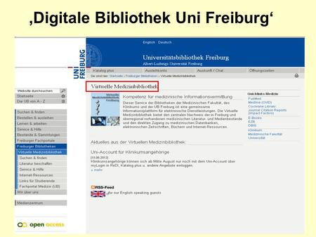 Digitale Bibliothek Uni Freiburg. Link Out in PubMed.