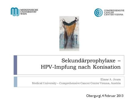 Sekundärprophylaxe – HPV-Impfung nach Konisation Elmar A. Joura Medical University – Comprehensive Cancer Center Vienna, Austria Obergurgl, 4 Februar 2013.