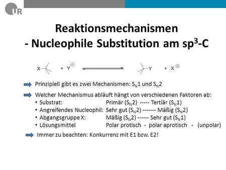 Reaktionsmechanismen - Nucleophile Substitution am sp3-C