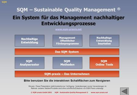SQM © SQM-praxis GmbH 2002 SQM - Sustainable Quality Management ® www.sqm-praxis.net Nachhaltige Entwicklung Hinweis: Diese Präsentation steht kostenlos.