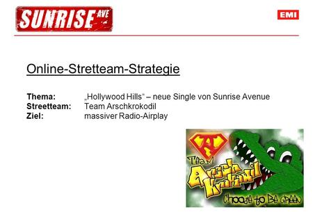 Online-Stretteam-Strategie Thema: Hollywood Hills – neue Single von Sunrise Avenue Streetteam: Team Arschkrokodil Ziel: massiver Radio-Airplay.