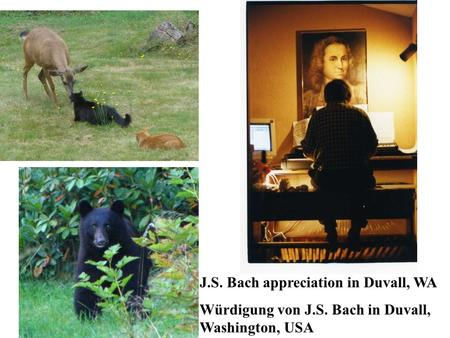 J.S. Bach appreciation in Duvall, WA Würdigung von J.S. Bach in Duvall, Washington, USA.