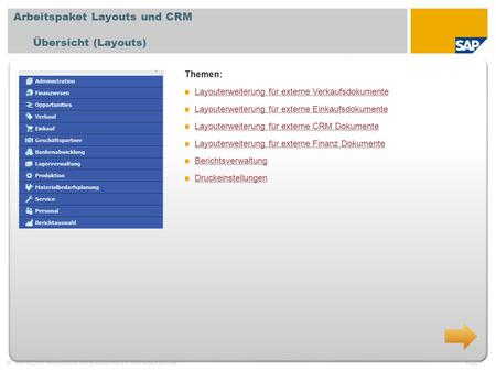 SAP AG 2011, Introduction to SAP Business One 8.8, GTM Rollout Services Page 1 Arbeitspaket Layouts und CRM Übersicht (Layouts) Themen: Layouterweiterung.