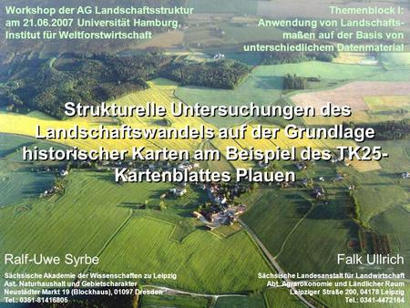 Workshop der AG Landschaftsstruktur am