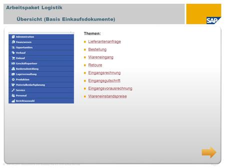 SAP AG 2011, Introduction to SAP Business One 8.8, GTM Rollout Services Page 1 Arbeitspaket Logistik Übersicht (Basis Einkaufsdokumente) Themen: Lieferantenanfrage.