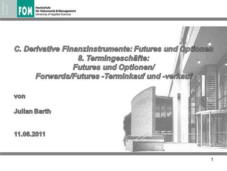 C. Derivative Finanzinstrumente: Futures und Optionen