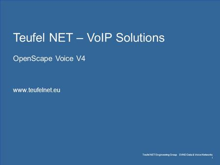 Teufel NET Engineering Group DVND Data & Voice Networks www.teufelnet.eu Seite 1 March 14 Teufel NET – VoIP Solutions OpenScape Voice V4 www.teufelnet.eu.