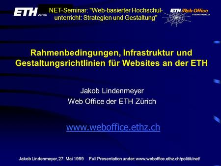 Jakob Lindenmeyer Web Office der ETH Zürich