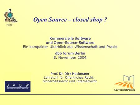 Open Source – closed shop ?