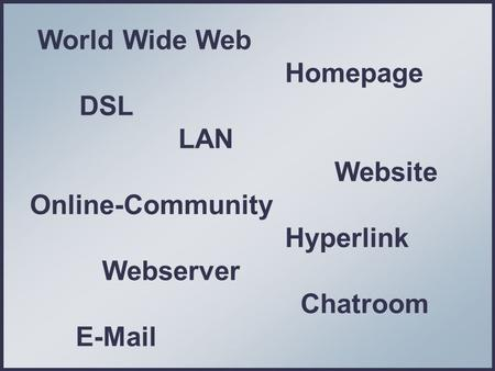 World Wide Web Homepage DSL LAN Website Online-Community Hyperlink Webserver Chatroom E-Mail.