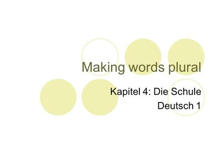 Making words plural Kapitel 4: Die Schule Deutsch 1.