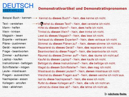 DEUTSCH ? Demonstrativartikel und Demonstrativpronomen Buch - kennen