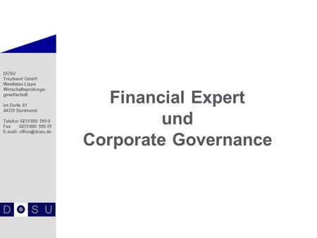Financial Expert und Corporate Governance