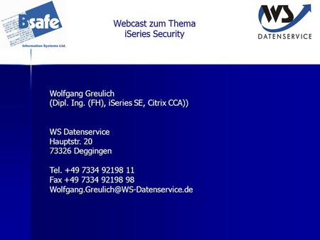 Webcast zum Thema iSeries Security
