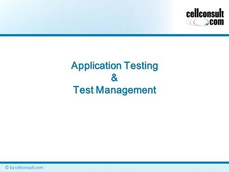 © by cellconsult.com Application Testing & Test Management.