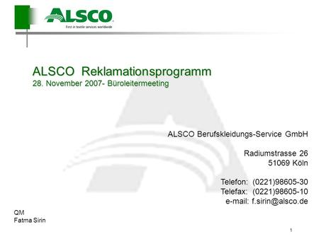 ALSCO Reklamationsprogramm 28. November Büroleitermeeting