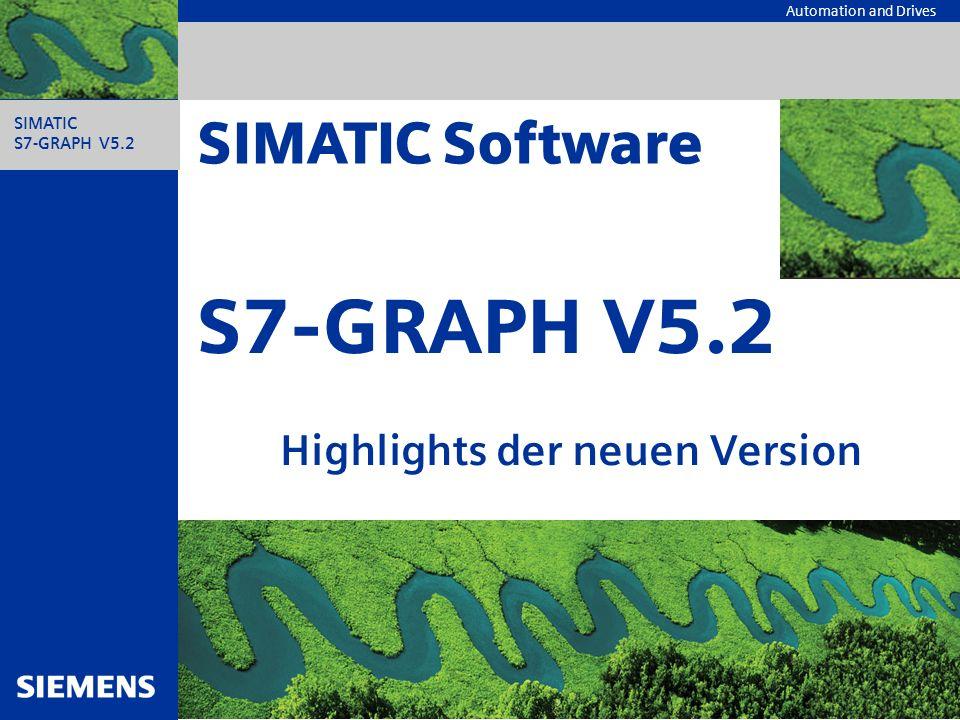 Automation and Drives Neue Funktionen Konsistenzprüfung Übersichts- darstellung Synchronisation Überwachungs- und Wartezeiten Hinzufügen von Symbolen Suche von Ver- wendungsstellen eines Operanden Einsprung von WinCC Neue Tastatur- bedienungen Bestellnummern, Liefertermin und Informationen SIMATIC Industrie Software S7-GRAPH V5.2 – HighlightsA&D AS FA PS, 14.01.03, 2 S7-GRAPH V5.2 Die Konsistenzprüfung von STEP 7 steht in vollem Umfang zur Verfügung.
