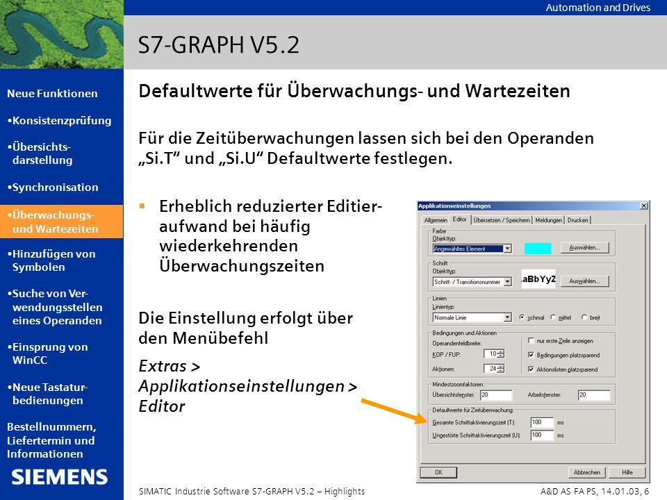 Automation and Drives Neue Funktionen Konsistenzprüfung Übersichts- darstellung Synchronisation Überwachungs- und Wartezeiten Hinzufügen von Symbolen Suche von Ver- wendungsstellen eines Operanden Einsprung von WinCC Neue Tastatur- bedienungen Bestellnummern, Liefertermin und Informationen SIMATIC Industrie Software S7-GRAPH V5.2 – HighlightsA&D AS FA PS, 14.01.03, 7 S7-GRAPH V5.2 Hinzufügen von Symbolen Es können jetzt abhängig von der Position des Mauszeigers auch Symbole für mehrere Operanden vergeben werden.