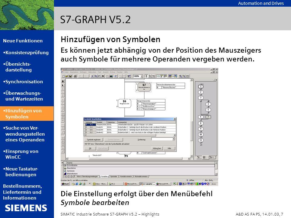 Automation and Drives Neue Funktionen Konsistenzprüfung Übersichts- darstellung Synchronisation Überwachungs- und Wartezeiten Hinzufügen von Symbolen Suche von Ver- wendungsstellen eines Operanden Einsprung von WinCC Neue Tastatur- bedienungen Bestellnummern, Liefertermin und Informationen SIMATIC Industrie Software S7-GRAPH V5.2 – HighlightsA&D AS FA PS, 14.01.03, 8 S7-GRAPH V5.2 Zum Anzeigen der Verwendungsstellen eines markierten Operanden werden neue Möglichkeiten angeboten: Ein Doppelklick auf einen globalen Operanden durchsucht das S7-Programm nach entgegengesetzten Verwendungsstellen, d.