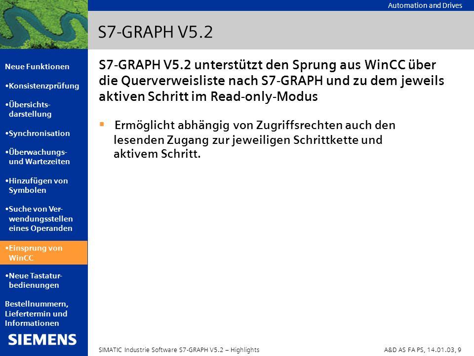 Automation and Drives Neue Funktionen Konsistenzprüfung Übersichts- darstellung Synchronisation Überwachungs- und Wartezeiten Hinzufügen von Symbolen Suche von Ver- wendungsstellen eines Operanden Einsprung von WinCC Neue Tastatur- bedienungen Bestellnummern, Liefertermin und Informationen SIMATIC Industrie Software S7-GRAPH V5.2 – HighlightsA&D AS FA PS, 14.01.03, 10 S7-GRAPH V5.2 Neue Tastaturbedienungen zum Navigieren in der Ablaufkette: Neue Tastatur- bedienungen