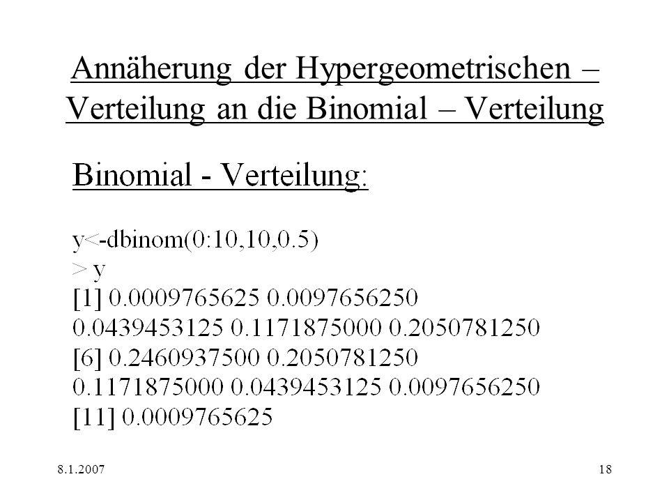8.1.200719 Annäherung der Hypergeometrischen – Verteilung an die Binomial – Verteilung
