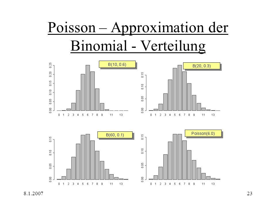 8.1.200724 Kritik Ergebnisse von größeren Datenmengen sind schnell zugänglich Annährung lässt sich gut graphisch darstellen -Befehl für Hypergeometrische Verteilung ist nicht leicht zu bedienen: h (k; N, K, n) dhyper(k,K,N-K,n)