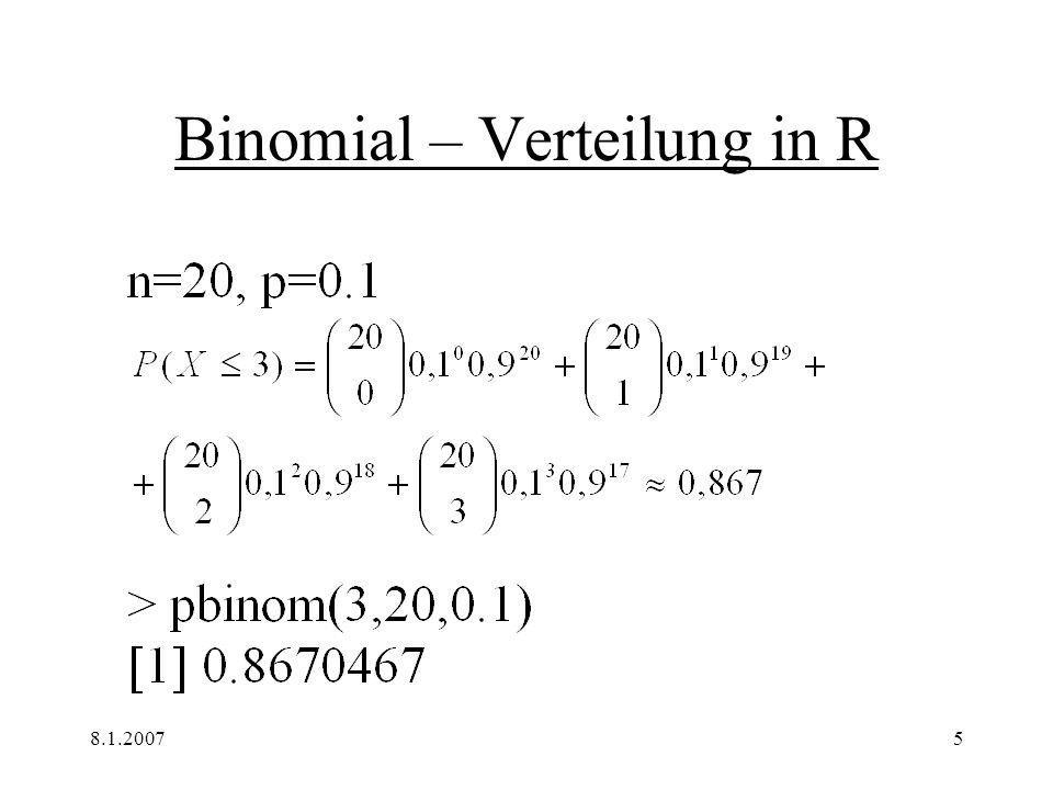 8.1.20076 Binomial – Verteilung in R