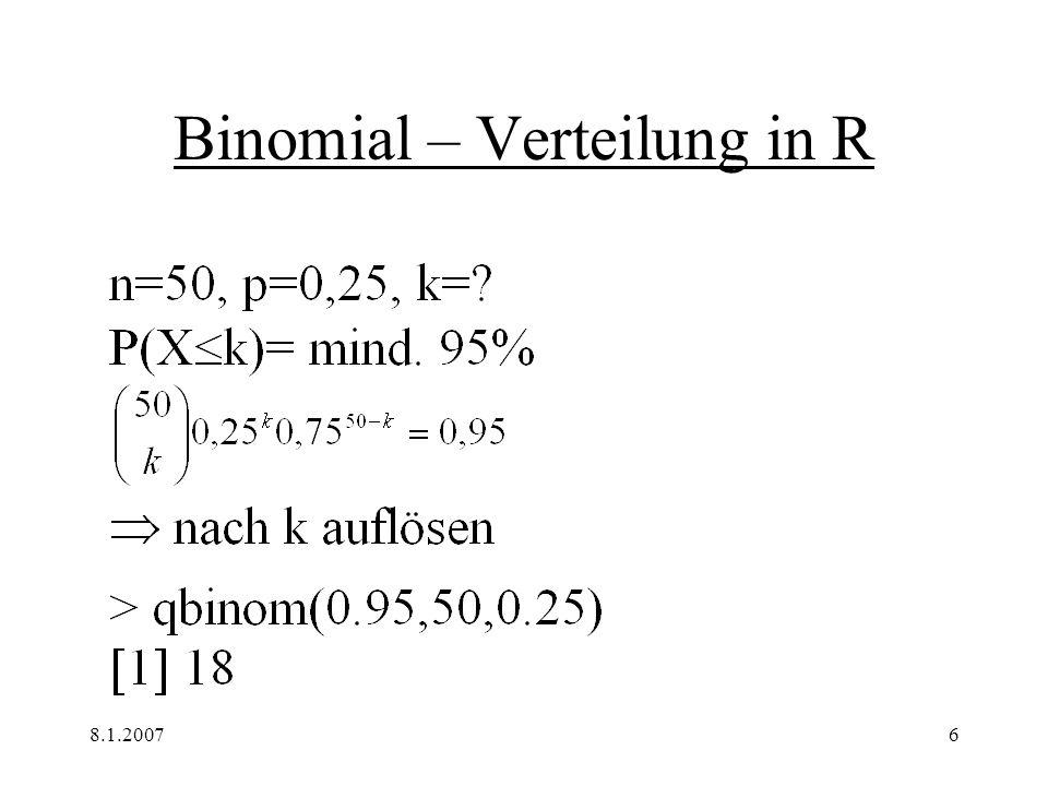 8.1.20077 Binomial – Verteilung in R