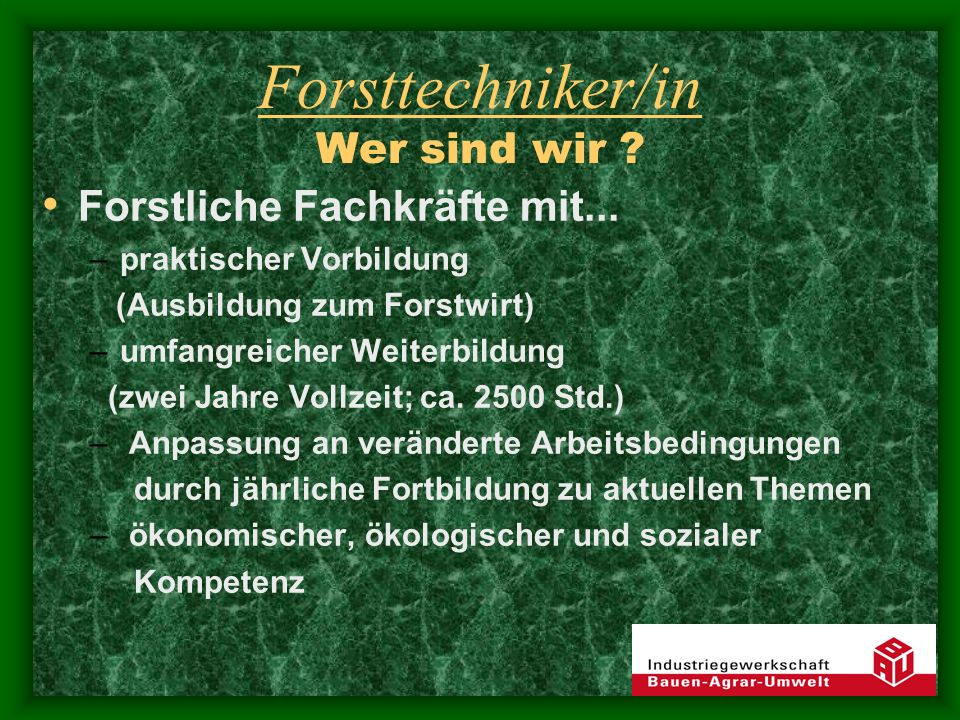 Forsttechniker/in Tätigkeitsfelder Revierleiter in Forstbetrieben Forstliche Dienstleistungen Fachorganisationen (z.B.