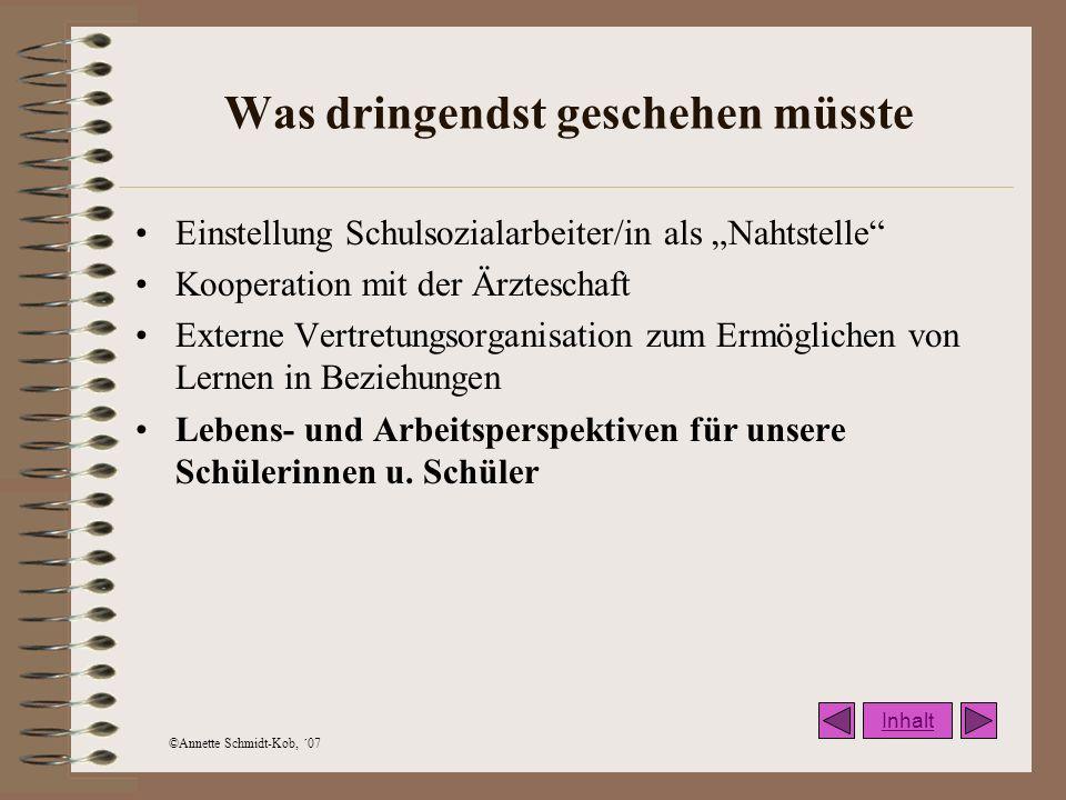 ©Annette Schmidt-Kob, ´07 Verknüpfungen Arbeit am Schulprogramm Arbeit an Förderplänen Langfristige Unterrichtsentwicklung im Rahmen einer kollegiumsinternen Fortbildung (nach Klippert) Integration i.