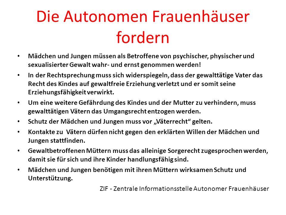 Die ZIF (Zentrale Informationsstelle der Autonomen Frauenhäuser) stellt fest: