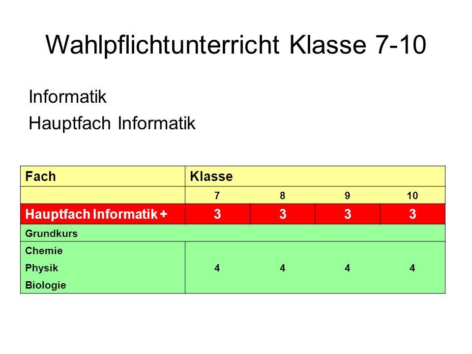 Differenzierter Unterricht in den Klassen 7-10 (Gesamtübersicht) FachKlasseFachKlasse 78910789 Hauptfach Franz.