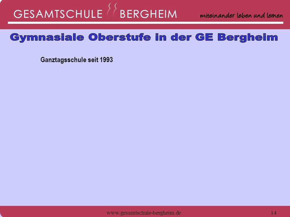 www.gesamtschule-bergheim.de15 Ganztagsschule seit 1993 -Verpflegung tagsüber und warmes Mittagessen in der Mensa