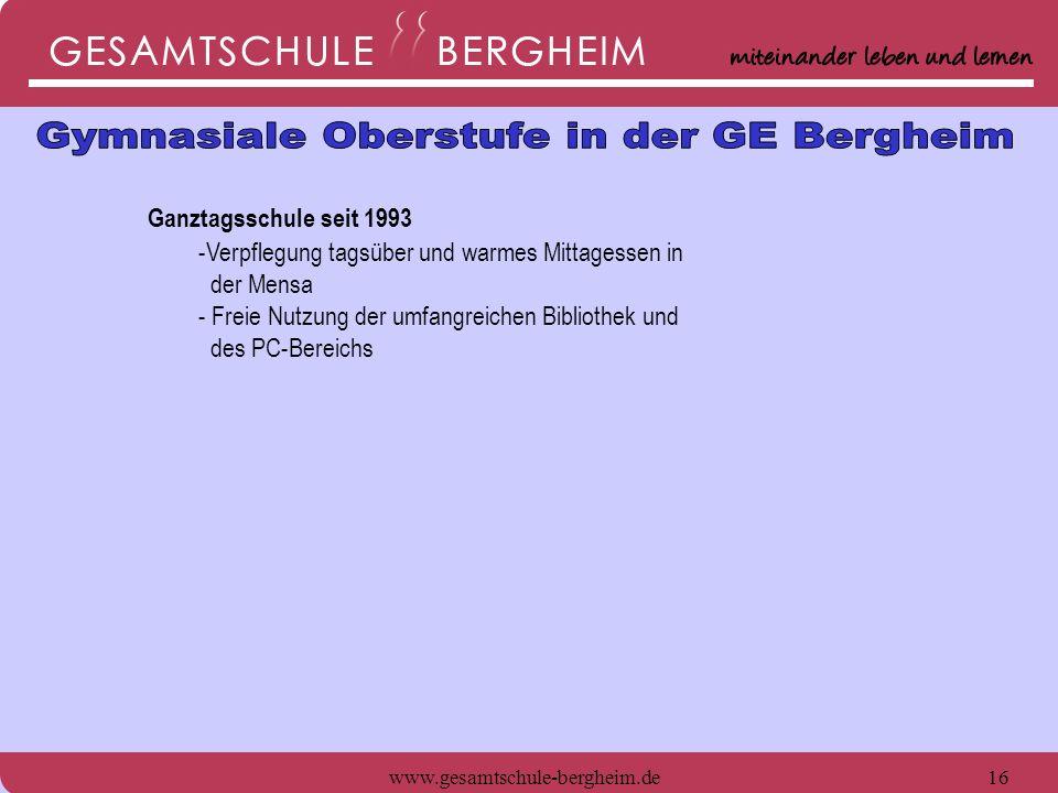www.gesamtschule-bergheim.de17 Ganztagsschule seit 1993 -Verpflegung tagsüber und warmes Mittagessen in der Mensa - Freie Nutzung der umfangreichen Bibliothek und des PC-Bereichs - Großer naturwissenschaftlicher Fachbereich