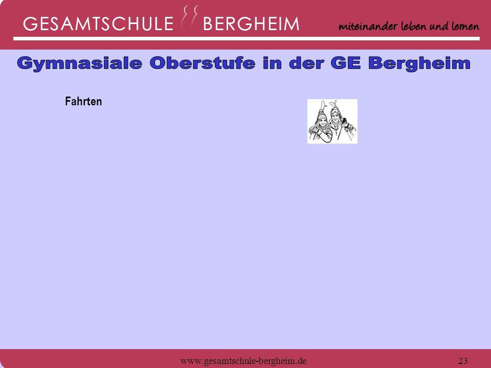 www.gesamtschule-bergheim.de24 Fahrten - Schneefahrt im 11.Jahrgang - Jährliche Weimar-Fahrt - Schüleraustausch Paraguay