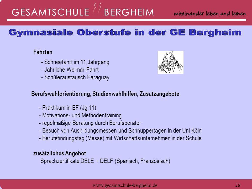 www.gesamtschule-bergheim.de29 seit 2006 Sozialpädagogisches Grundpraktikum Poi - AG Rockband - AG Projektkurs in der Q1 (12 Jg.) Sozialpädagogisches Grundpraktikum