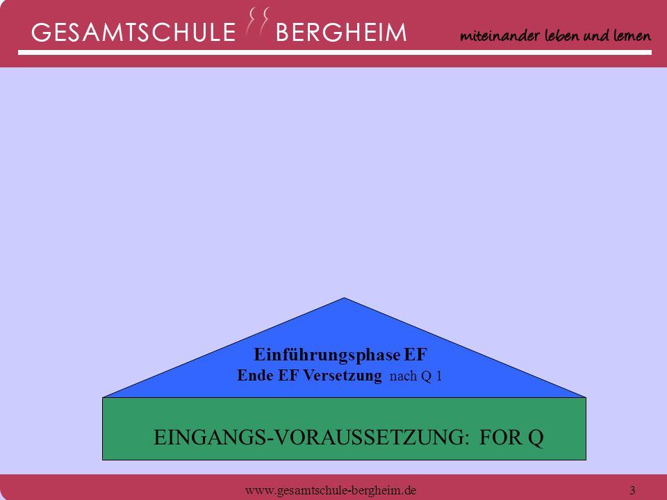www.gesamtschule-bergheim.de4 Einführungsphase EF Ende EF Versetzung nach Q 1 EINGANGS-VORAUSSETZUNG: FOR Q FACHHOCHSCHULREIFE nach Q 1 (+ Praktikum/Lehre)