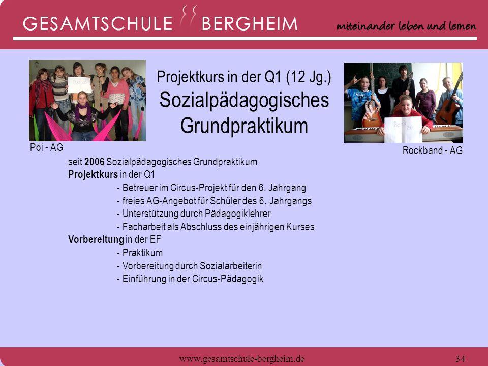 www.gesamtschule-bergheim.de35 seit 2006 Sozialpädagogisches Grundpraktikum Projektkurs in der Q1 - Betreuer im Circus-Projekt für den 6.