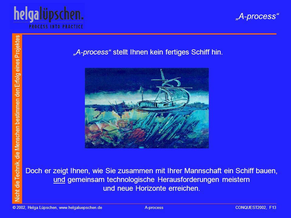 Nicht die Technik, die Menschen bestimmen den Erfolg eines Projektes © 2002, Helga Lüpschen, www.helgaluepschen.deA-processCONQUEST2002, F13 A-process stellt Ihnen kein fertiges Schiff hin.