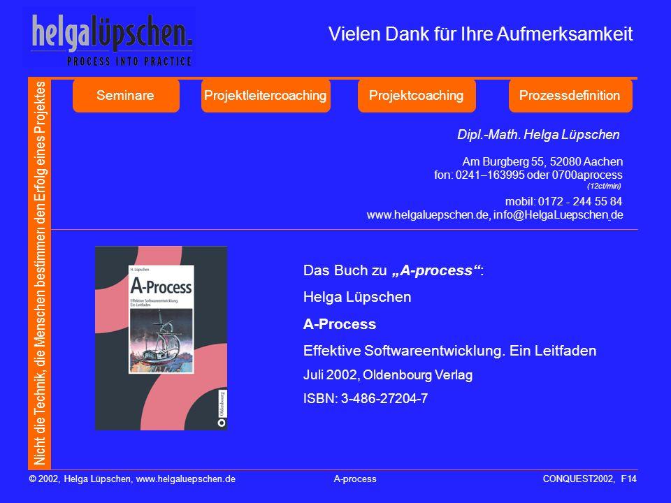 Nicht die Technik, die Menschen bestimmen den Erfolg eines Projektes © 2002, Helga Lüpschen, www.helgaluepschen.deA-processCONQUEST2002, F14 Das Buch zu A-process: Helga Lüpschen A-Process Effektive Softwareentwicklung.