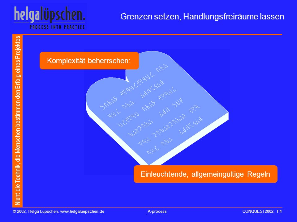 Nicht die Technik, die Menschen bestimmen den Erfolg eines Projektes © 2002, Helga Lüpschen, www.helgaluepschen.deA-processCONQUEST2002, F4 Grenzen setzen, Handlungsfreiräume lassen Einleuchtende, allgemeingültige Regeln Komplexität beherrschen:
