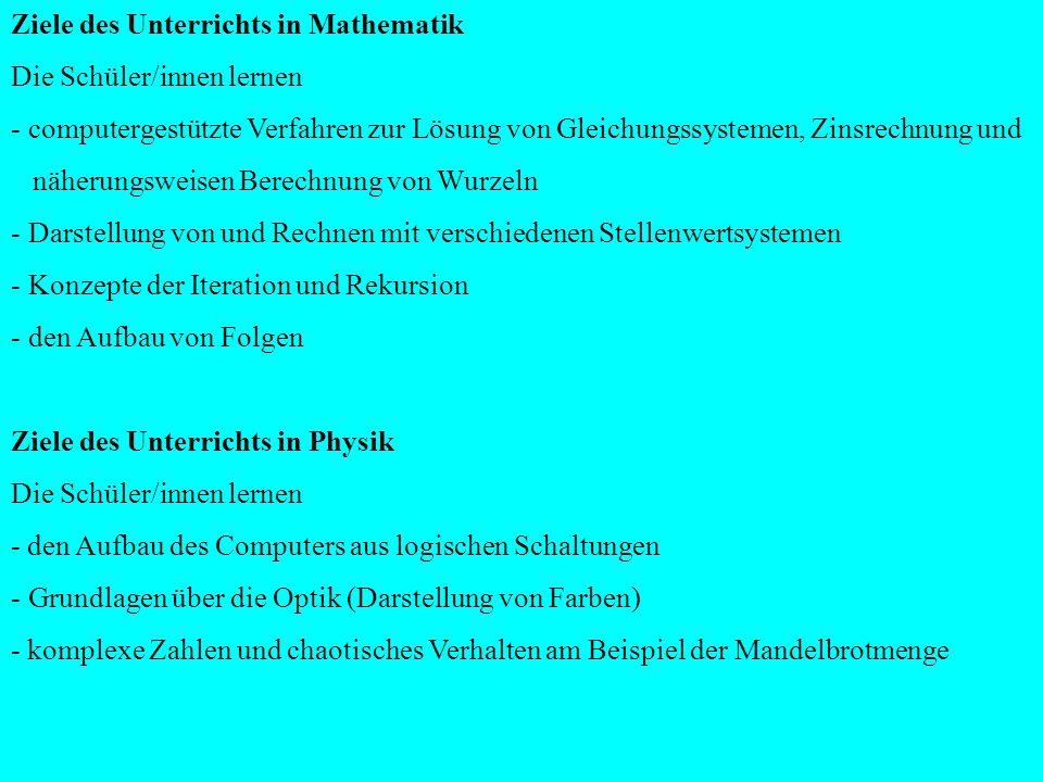 Chemie / Physik (1.Kursjahr); Chemie/Biologie (2.