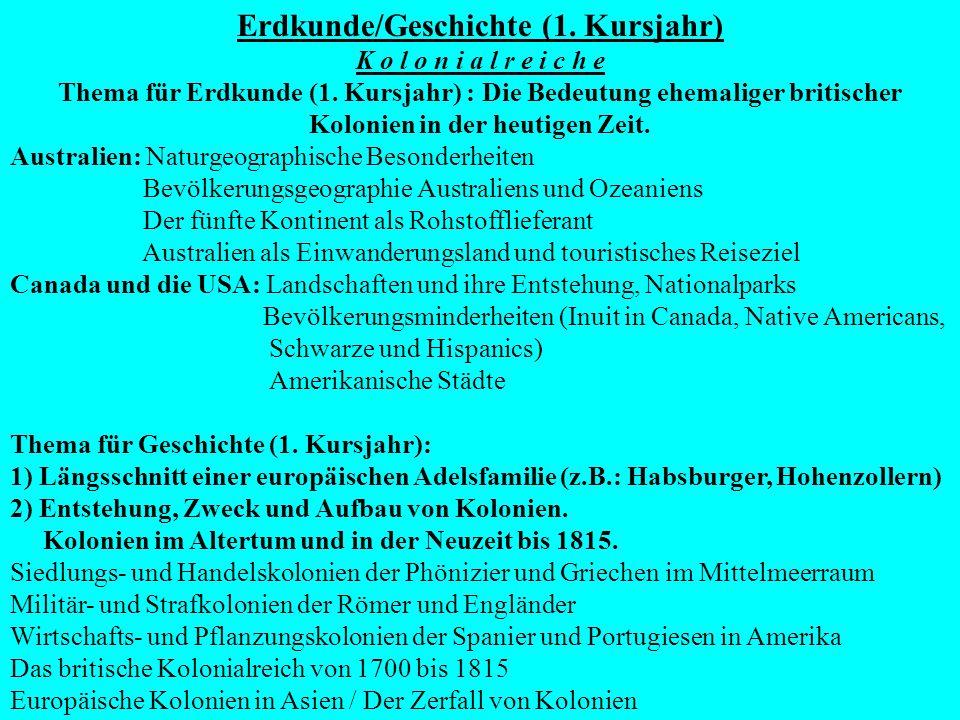 Thema für Erdkunde (2.Kursjahr): Projektarbeit und praktisches Arbeiten in der Geographie.
