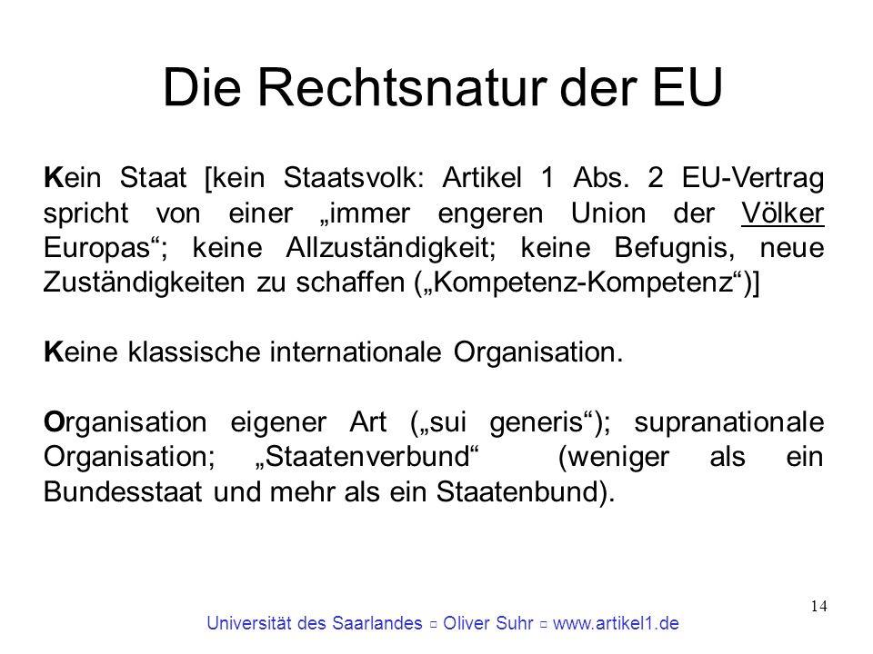 Universität des Saarlandes Oliver Suhr www.artikel1.de 15 Struktur und Rechtsnatur Vertiefungshinweise: Herdegen, Europarecht, § 5 Arndt/Fischer, Europarecht, Dritter Teil