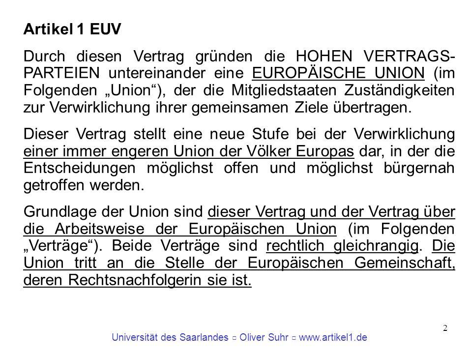 Universität des Saarlandes Oliver Suhr www.artikel1.de 3 Wann kann man von einem Staat sprechen.