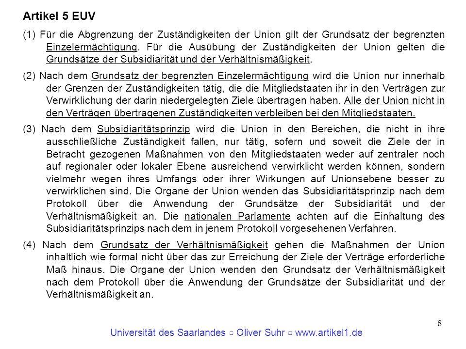 Universität des Saarlandes Oliver Suhr www.artikel1.de 9 Grundlegende Entscheidungen des EuGH zur Rechtsnatur des Europarechts EuGH, Rs.