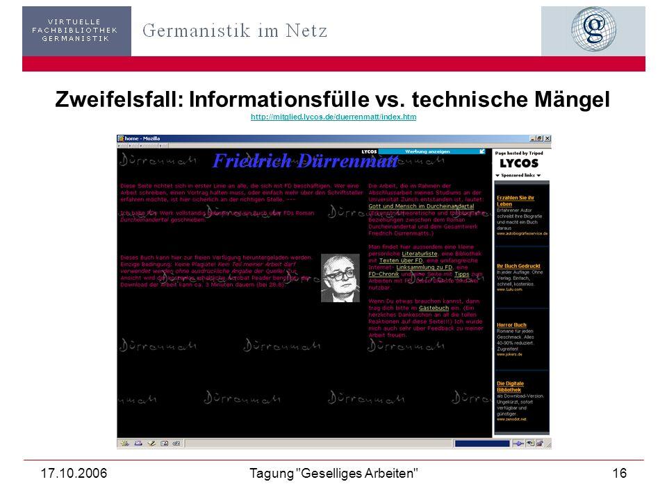 17.10.2006Tagung Geselliges Arbeiten 17 Fallstricke: Selbstverständnis vs. Selbstdarstellung