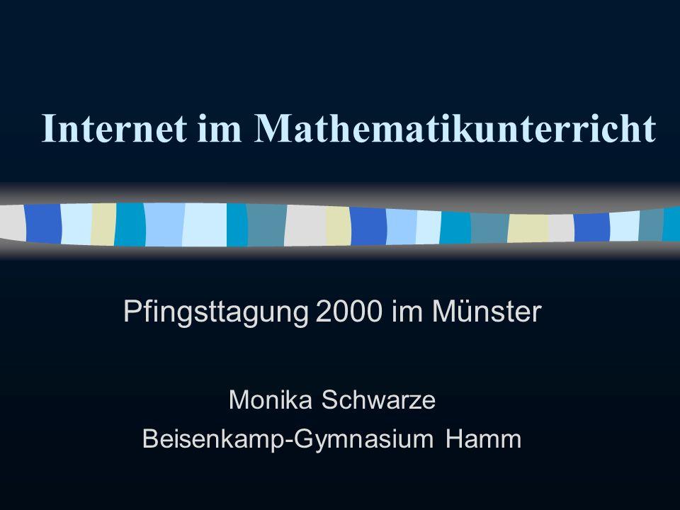 WWW im Mathematikunterricht n Beispiele für WWW-Nutzung * bei versch.