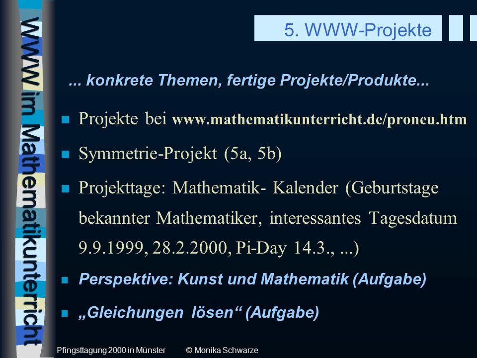 WWW im Mathematikunterricht n Umfragen erstellen und auswerten (6a) n Mathematik-Lexikon-Projekte (6b, 6c) n schulübergreifende Projekte (6d) n Team- und Einzelwettbewerbe im WWW (6e, 6f) n Mitmachen b.World Mathematical Year 2000 (6g) n Dr.